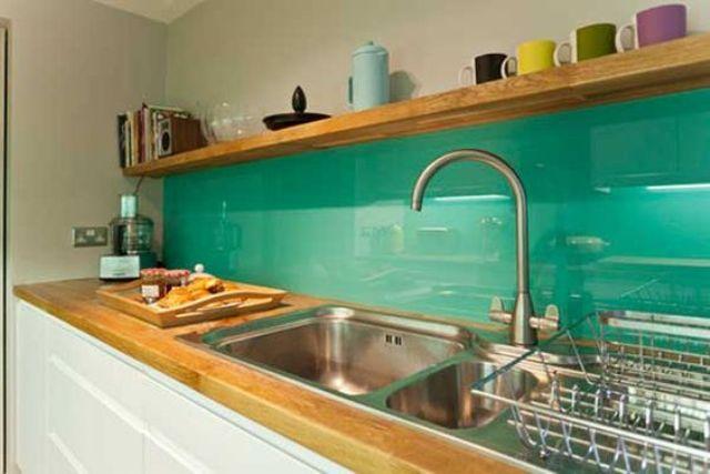 Picture Of trendy minimalist solid glass kitchen backsplashes  7