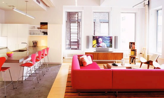 Tribeca Lofts Playing With Pink Color In Apartment Interior Design