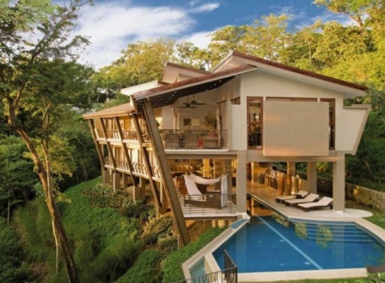 Awesome home design ideas tropical house for vacation in costa rica jungle - Mountain house plans dreamy holiday homes ...