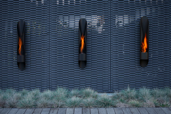 Sleek Yet Simple Outdoor Fireplace – Tube by Acquaefuoco