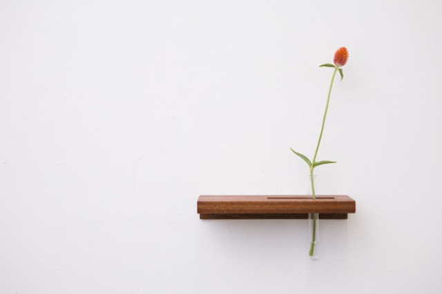 Minimalist Tube Wall Shelves And Flower Vases In One