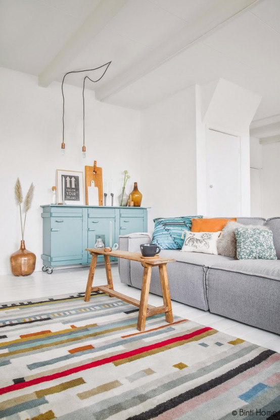Turquoise And Amber Living Room Design With Upcycled Items