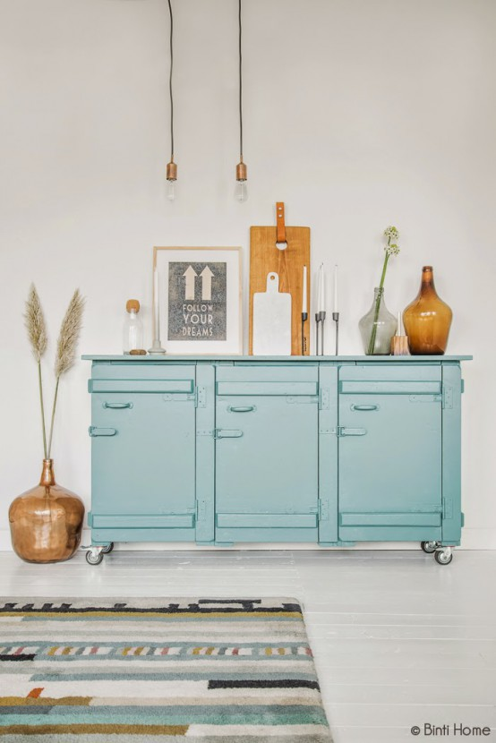Turquoise And Amber Living Room With Upcycled Items Part 54