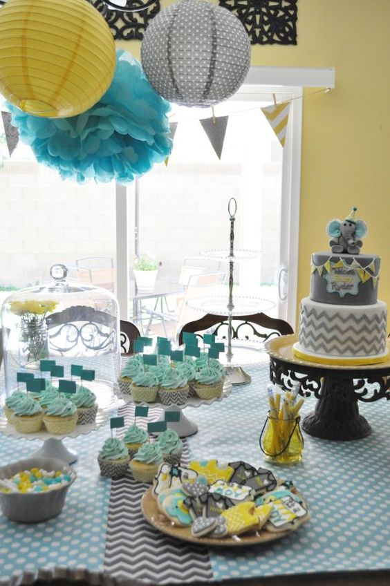 turquoise and yellow gender neutral baby shower