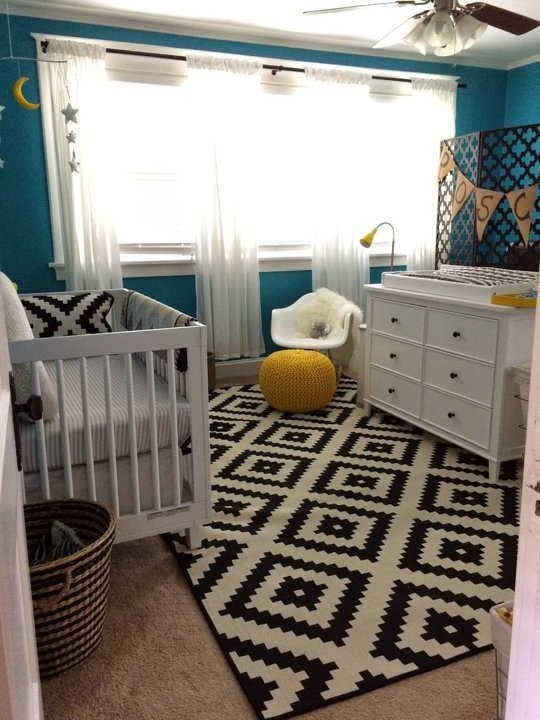 Turquoise Nursery Design With Yellow, Black And White Accents