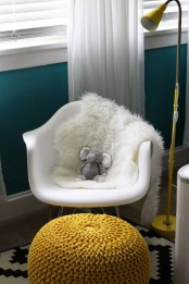 Turquoise Nursery With Yellow Black And White Accents