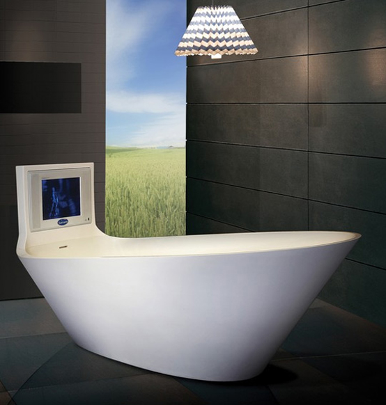 5 cool bathtubs with built in tvs digsdigs for Bathtub in bathroom
