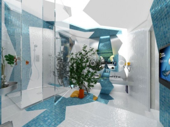 Two Contrasting Bathrooms In Futuristic Style