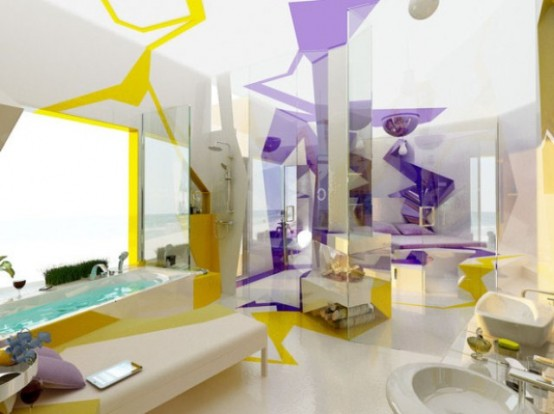 Two Contrasting Bathroom Designs In Futuristic Style ...