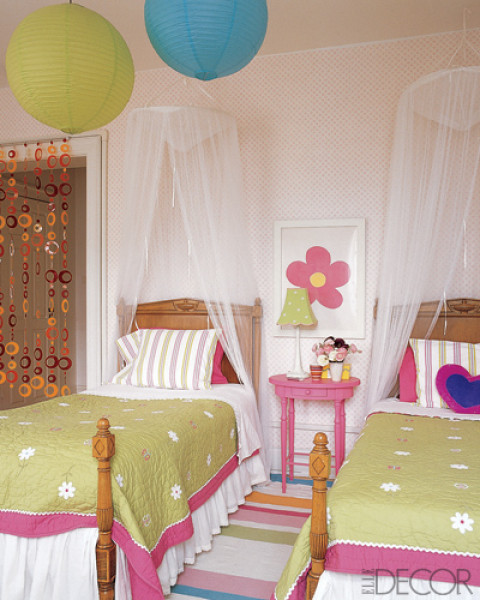 Awesome Two Girls Bedroom Accented With Pottery Barn Kids Accessories