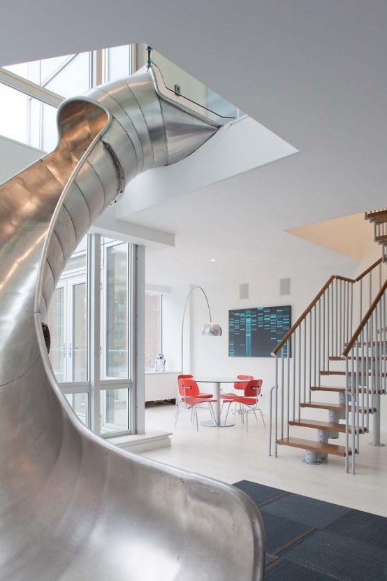 Two Level Apartment With A Steel Slide