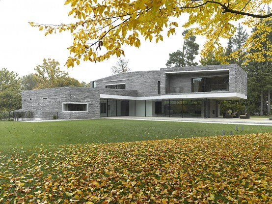 Two-Story House with Rough Stone Facade – House M