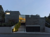 Two Story House With Rough Stone Facade