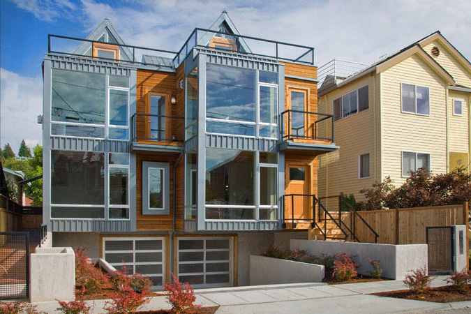 Two townhouses half block from the beach alki townhomes for Townhouse architecture designs
