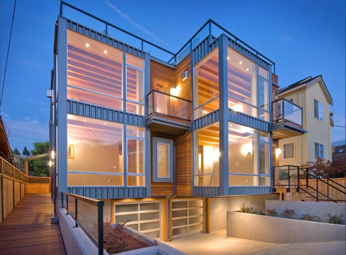 Two townhouses half block from the beach alki townhomes for Modern townhouse architecture