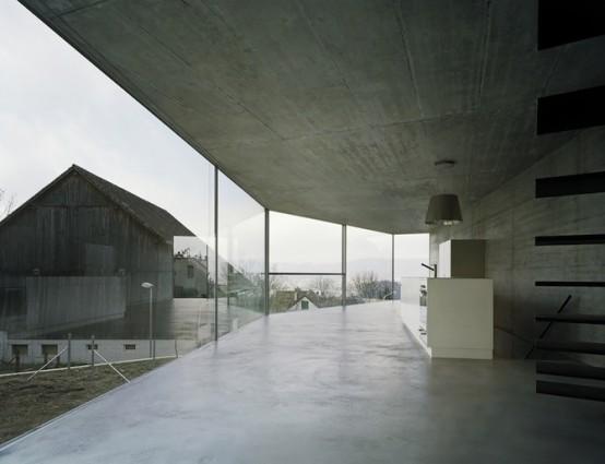 Ultra Minimal Glazed Home With A Single Wall