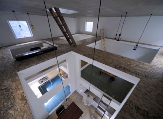 Ultra Minimalist House With Ladders Connecting Strories
