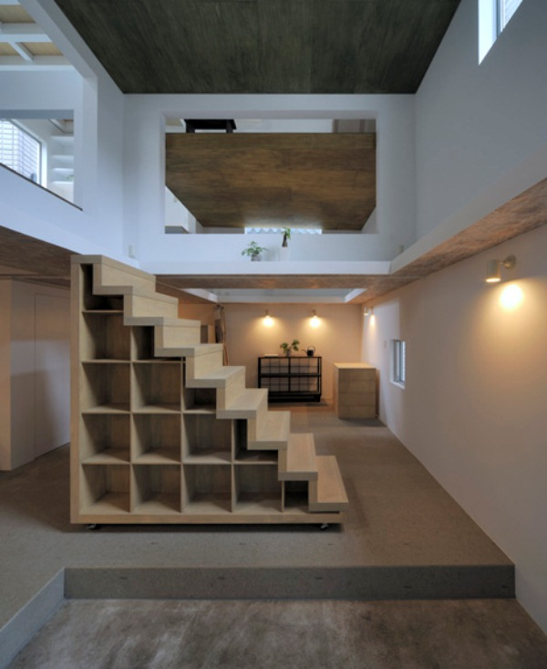 Ultra minimalist and thin house with ladders connecting for Ultra minimalist house