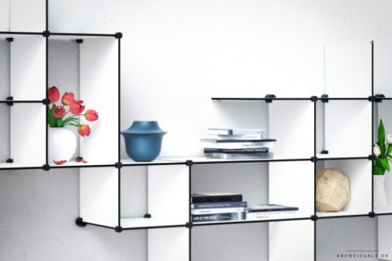 Ultra minimalist up the wall shelving unit digsdigs for Wandrek tuin