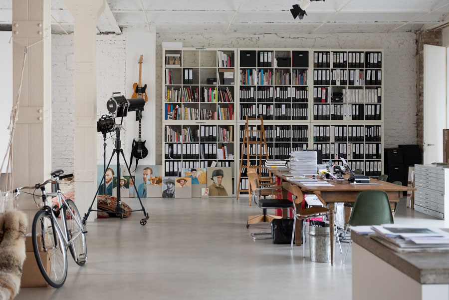 Picture Of uncluttered artists loft in neutral colors  7