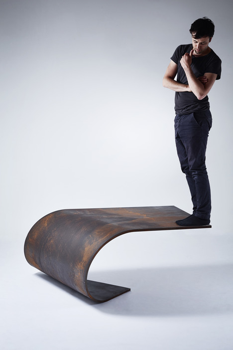 Unique Balanced Poised Table Of Rolled Steel