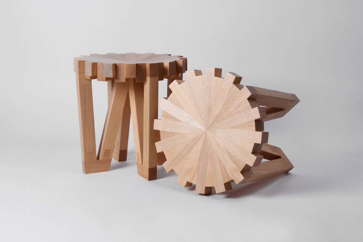 Unique calibre 32 stools inspired by horology Unique wooden furniture
