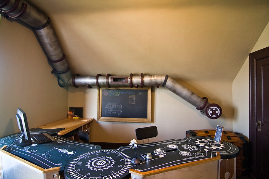 unique cat tunnel in steampunk style right at a home office digsdigs
