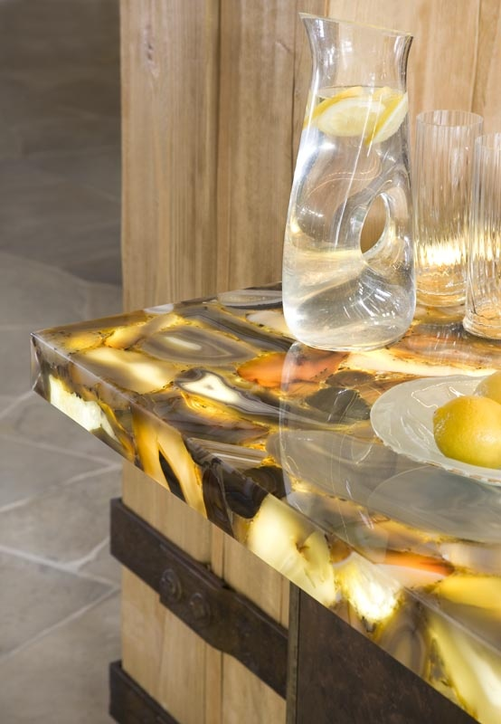 an onyx countertop with built in light is a gorgeous and luxurious option of a chic material accented with lights