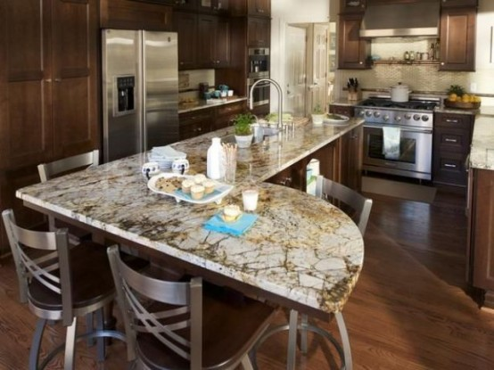 30 unique kitchen countertops of different materials for Unique kitchen island shapes