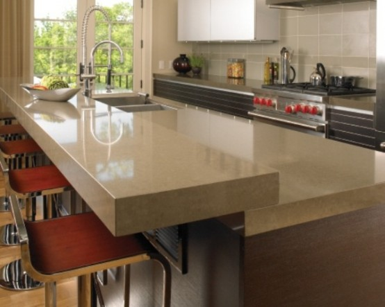 sleek neutral stone countertops make a perfect complement for a modern and chic kitchen design
