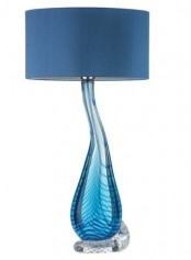 a blue table lamp with a unique ombre glass base and a navy lampshade is a stylish idea with much color