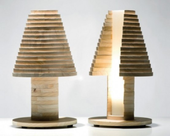 a modern wooden table lamp shaped as a mushroom or a tree will bring a natural feel to your room