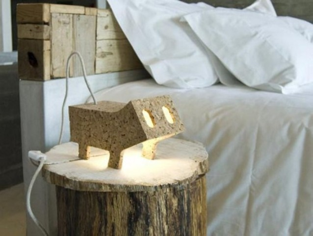 a plywood animal shaped lamp that reminds of some pig is a fun and cheerful idea for a modern space