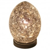 a unique egg-like table lamp reminds of the drago eggs from the famous GOTH
