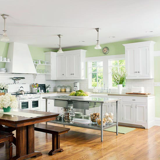 64 unique kitchen island designs digsdigs for Green and white kitchen designs