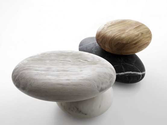 Unique Pave Stone Seating From Marble And Wood