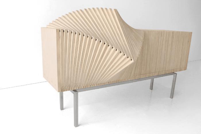 Unique Wave Dining Storage Cabinet That Changes Structure