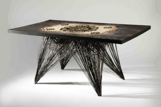 Unusual Art Deco Table With Interesting Pattern