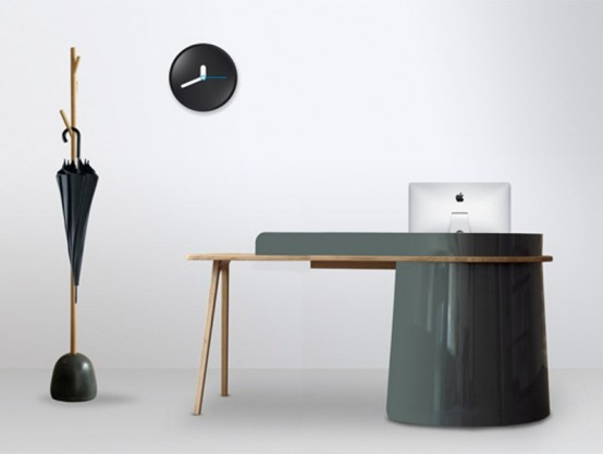 Unusual Big Boss Desk Of Metal, Wood And Leather
