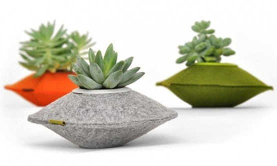 Unusual Colorful Planters Of Recycled Felt