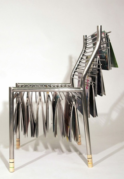 Unusual Magazine Rack And Chair In One