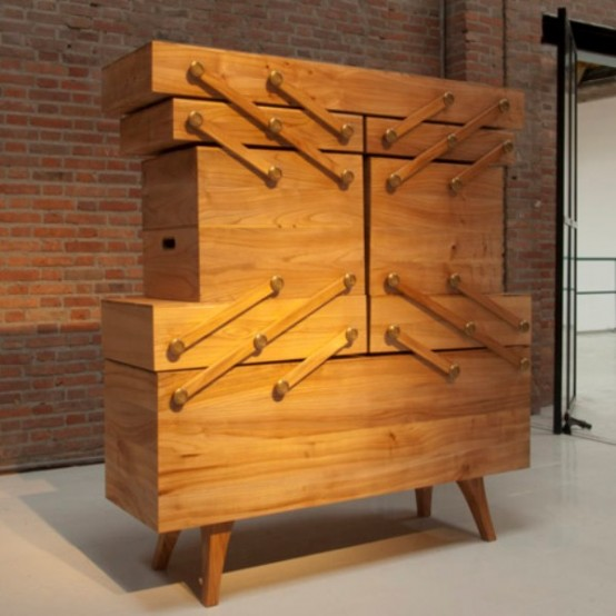 Unusual Sewing Box Cabinet With A Tricky Mechanism