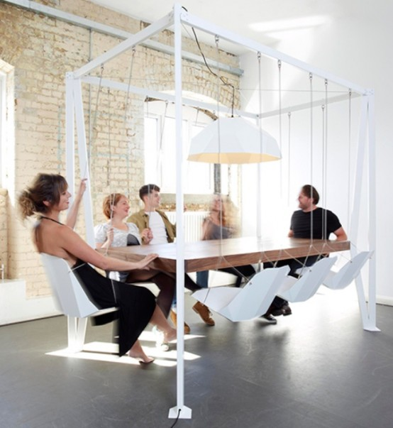 Unusual Swing Table For Having Fun At Meetings