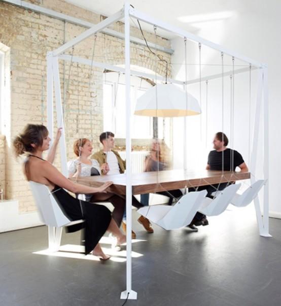 Unusual Swing Table For Having Fun At Meetings