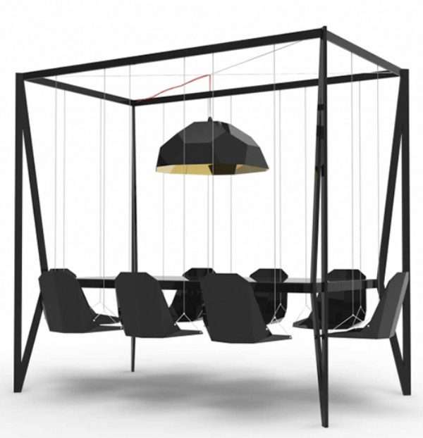 Unusual swing table for having fun at meetings digsdigs - Funky contemporary furniture decorate your home ...