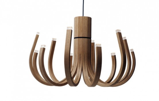Unusual Wooden Chandelier With Led Lamps