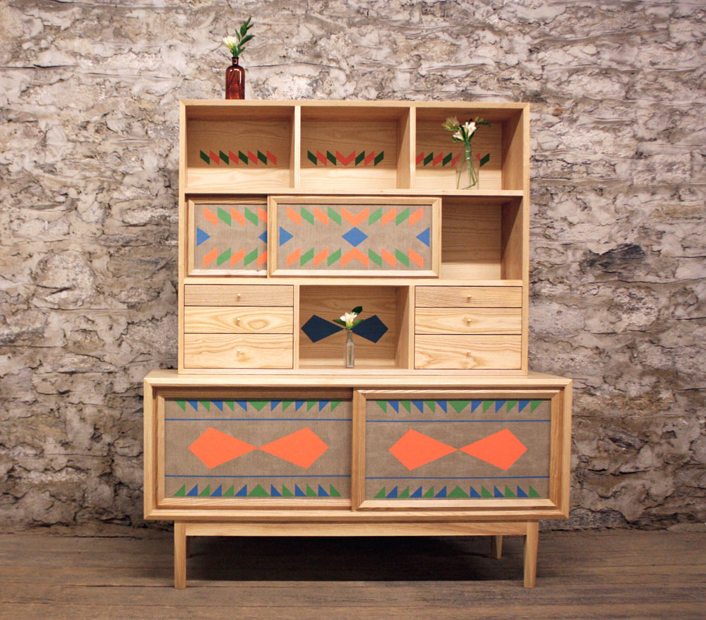Unusual wooden furniture with bright geometric patterns for Wooden furniture