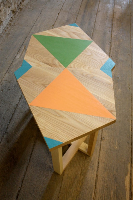 Unusual Wooden Furniture With Bright Geometric Patterns