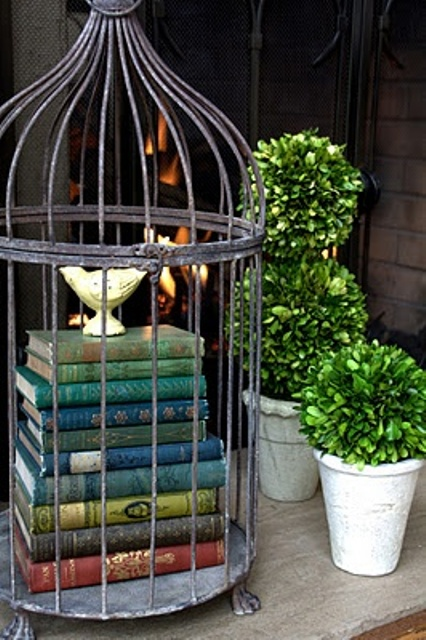 Combining a vintage bird cage filled with vintage books looks perfect in combination with topiaries.