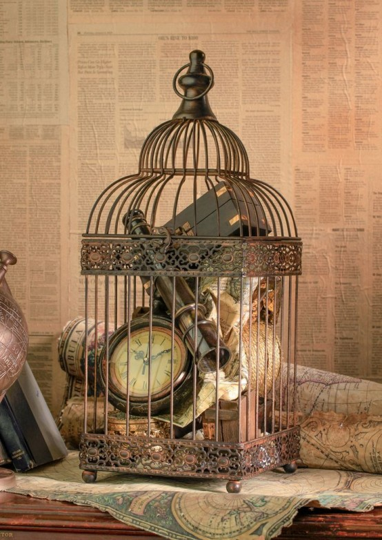 Using bird cages for decor 66 beautiful ideas digsdigs for Decoration usine vintage